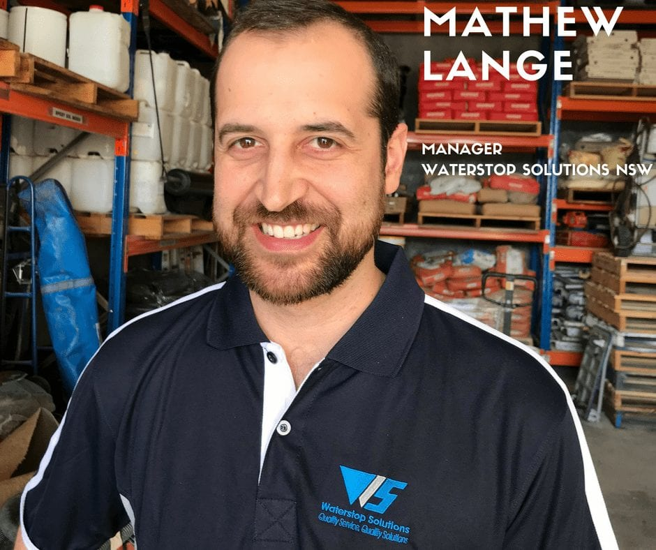 Mathew Lange - Waterstop Solutions NSW Manager - Sydney Office.